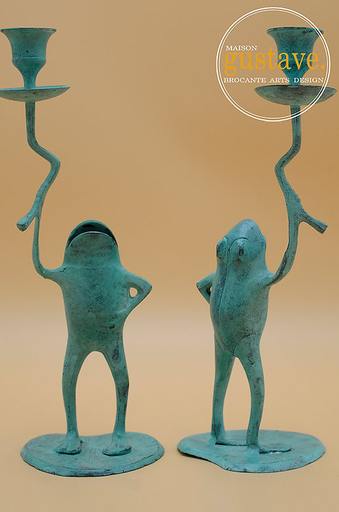 Duo de bougeoirs grenouille