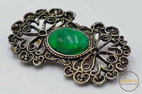 Broche vintage métal et pierre verte