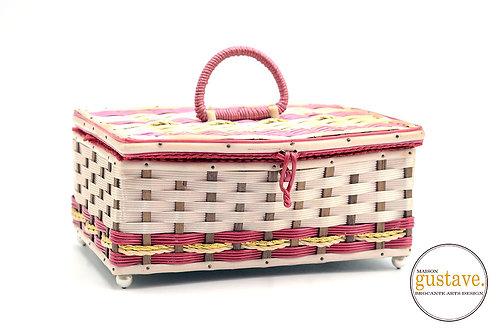 Coffre de couture rose