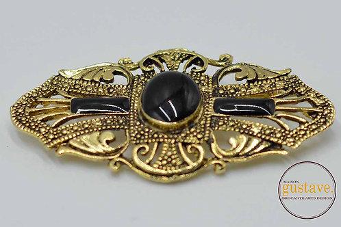 Broche vintage métal doré antiqué et pierres synthétiques noires