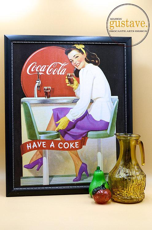 RÉSERVÉ* Affiche Coca Cola vintage encadrée
