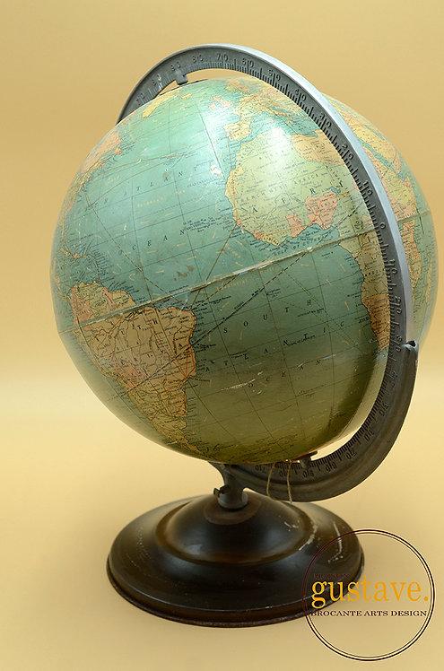 """Globe terrestre antique américain circa 1930, 12"""""""