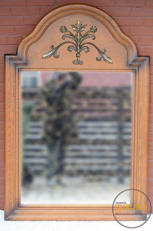 Miroir en bois / motif floral
