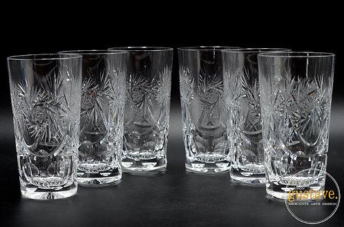 6 verres en cristal pinwheel