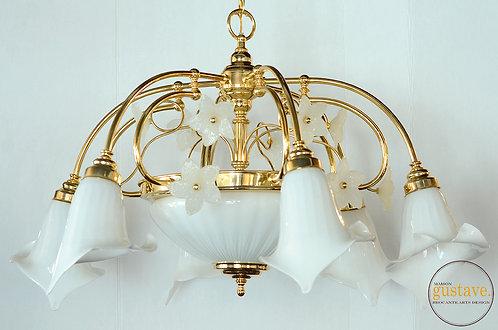Luminaire suspendu en verre soufflé attribuable à Murano