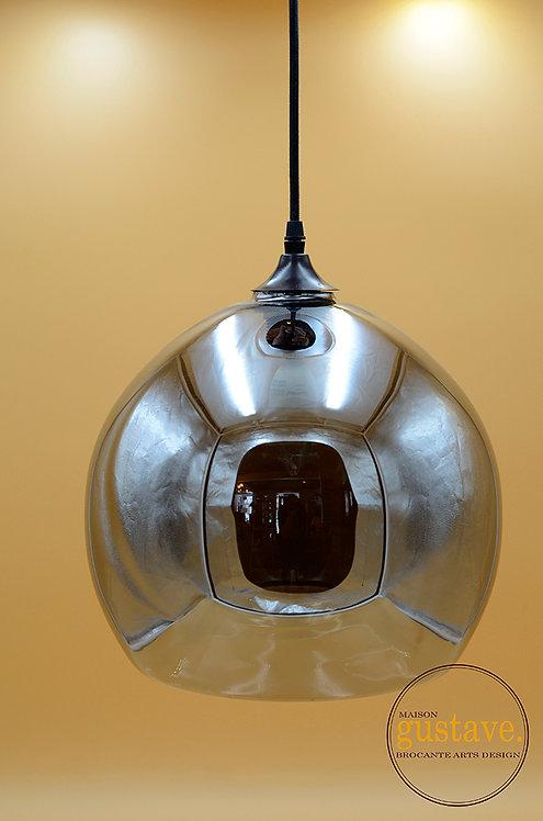 Luminaire verre fumé style rétro