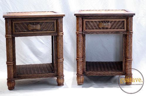 Duo de tables de chevet en rotin