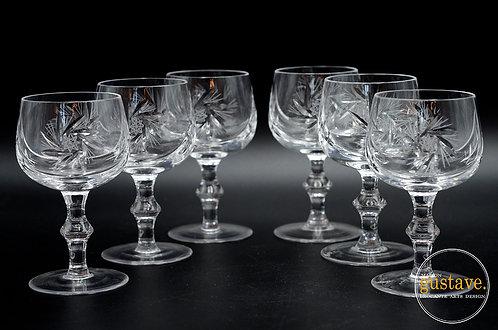 6 coupes en cristal pinwheel
