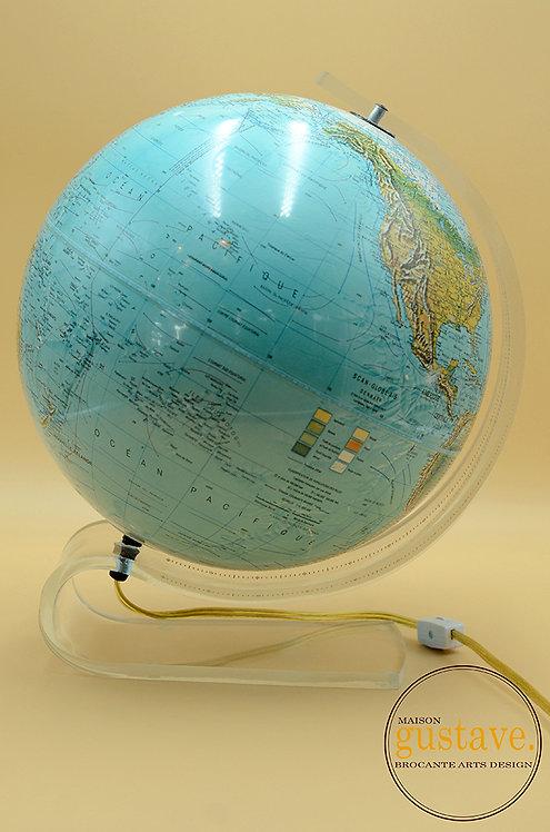 Globe terrestre danois Scan-Globe lumineux vintage