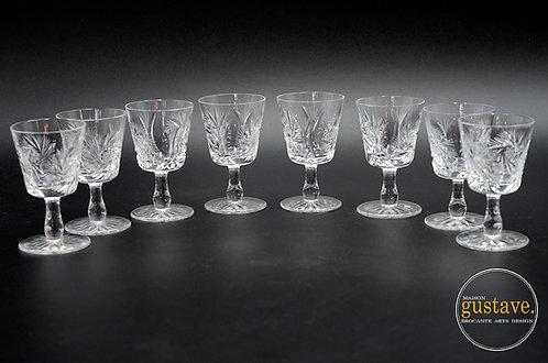 8 petites coupes à shooter en cristal, motif pinwheel