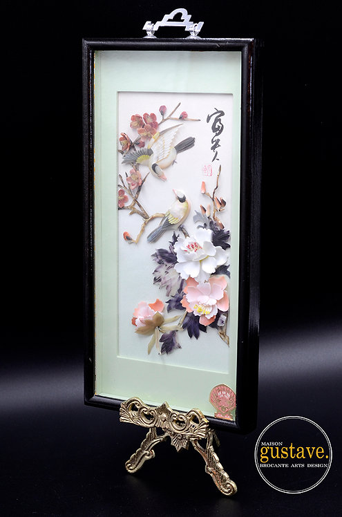 Œuvre chinoise encadrée signée Pearl Brand, Dalian China
