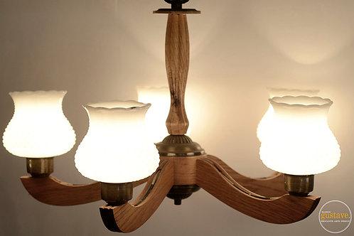 Luminaire en bois et milkglass