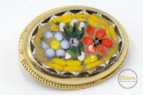 Broche vintage mosaïque de céramiques