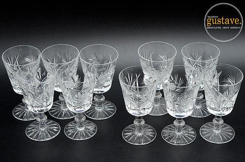 10 petites coupes en cristal, motif pinwheel