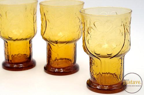 4 verres ambres Libbey