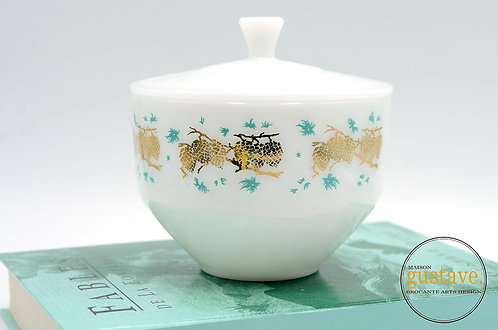 Bol et couvercle Federal glass motifs turquoises