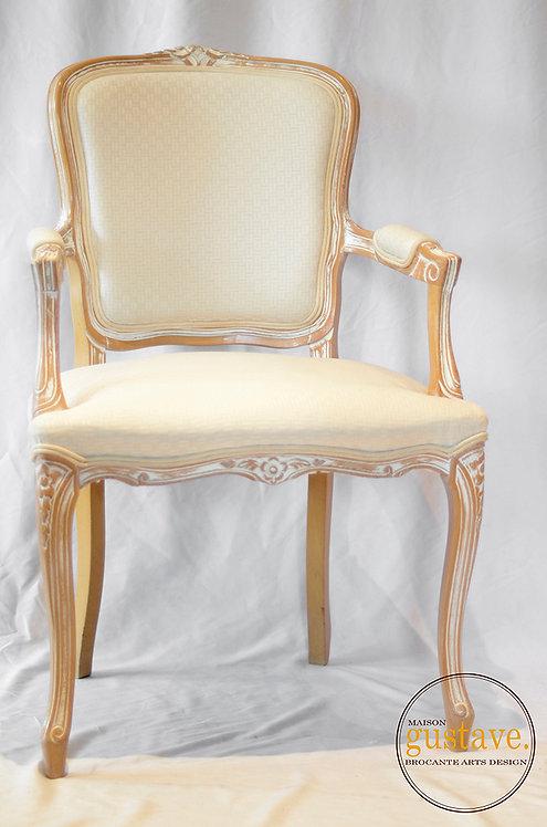 Belle chaise capitaine en bois et tissu
