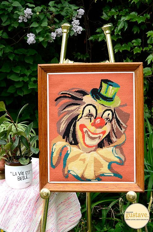 Petit point encadré Clown