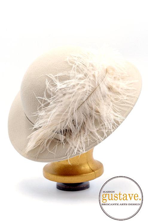 Chapeau Doeskin 100% laine vintage