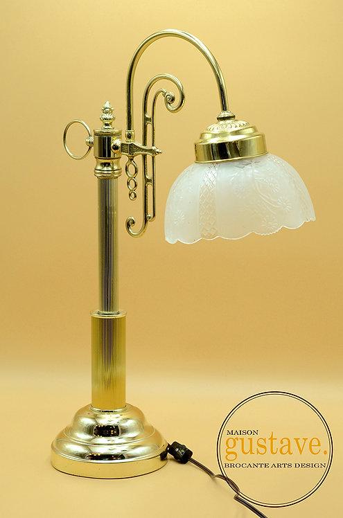 Lampe vintage en laiton et verre brossé