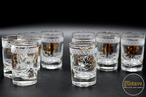 Ensemble 8 verres motif pinwheel or