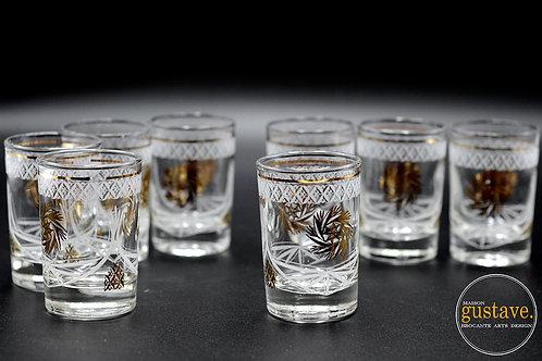 Ensemble 8 verres motif pinwheel or
