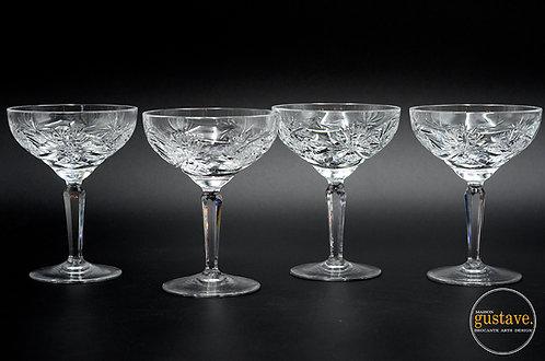 4 coupes en cristal motif pinwheel