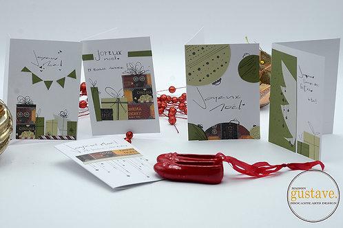 Ens. de 5 cartes de Noël uniques et artisanales
