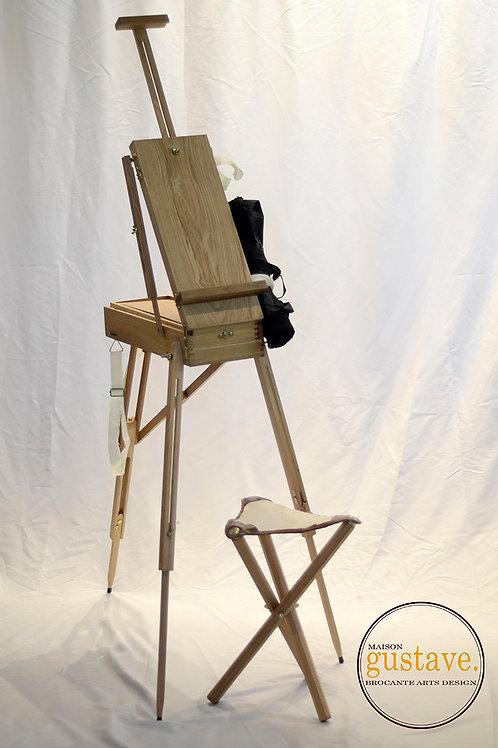 Chevalet d'artiste en bois avec banc