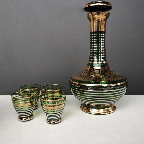Carafe verte et or avec 4 verres