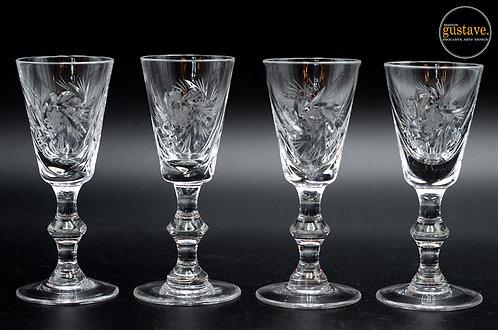4 verres à sherry en cristal pinwheel