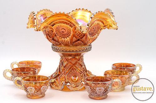 Bol à punch et 6 verres Carnaval Imperial Marigold glass