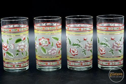 Ensemble 4 verres fleuris