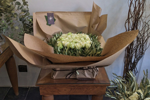 White roses with olive branches