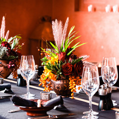 We love a tablescape with bold red and orange floral design!  Floral design by Le Kiosque à Fleurs Marrakech | Catherine Villier Event planning by Party Maroc Photography by Mimibalkan Photography