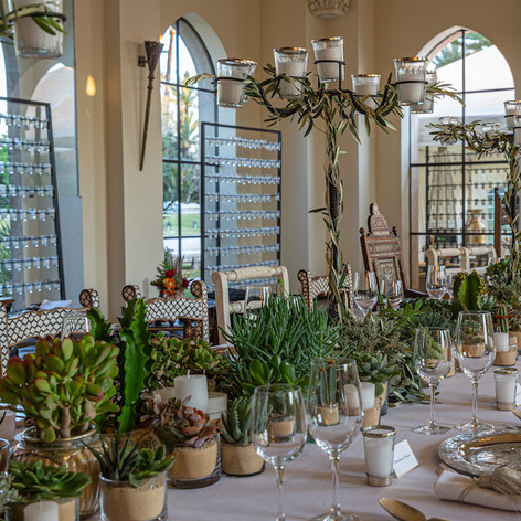 Chairs inlaid with mother of pearl in a bright open space with a Crystal Palace feel. It right that we completed the tables cape with cacti and greenery from the Le Kiosque à Fleurs gardens.   Event planning by Party Maroc Photography by Mimi Balkan Photography  Floral design by Le Kiosque à Fleurs Marrakech | Catherine Villier