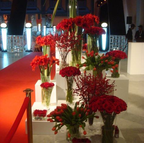 Red flowers for an event entrance in Marrakech