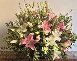Grand bouquet classique rose et blanc