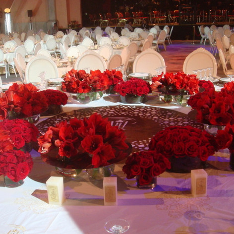 Red floral decor for an event in Marrakech