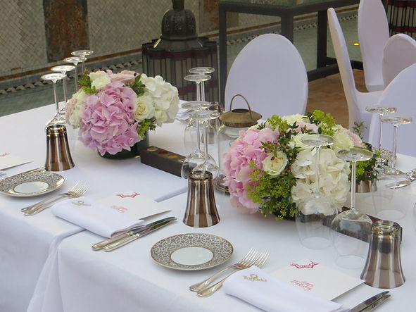 Floral decor for a table setting during an event in Marrakch
