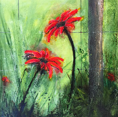 BEYOND THE FENCE - DAISIES IN RED