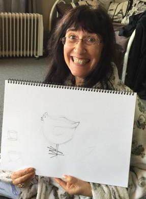 Rae & her chicken.jpg