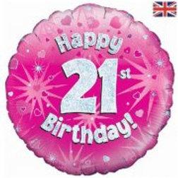 "Happy 21st Birthday Foil Balloon 18"""