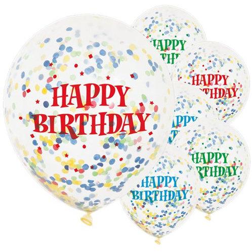 Happy Birthday Confetti Latex Balloon
