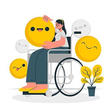 Femme en chaise roulante entourée de smiley