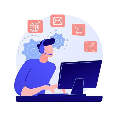 Homme à son bureau derrière un ordinateur