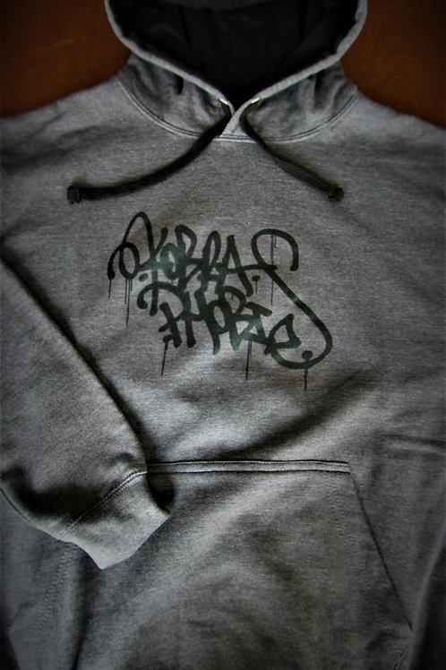 Hoodie Black on Grey