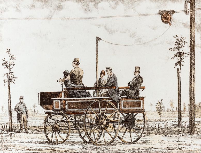 1882' de Siemens tarafından üretilen elektrikli troleybüs, Berlin.