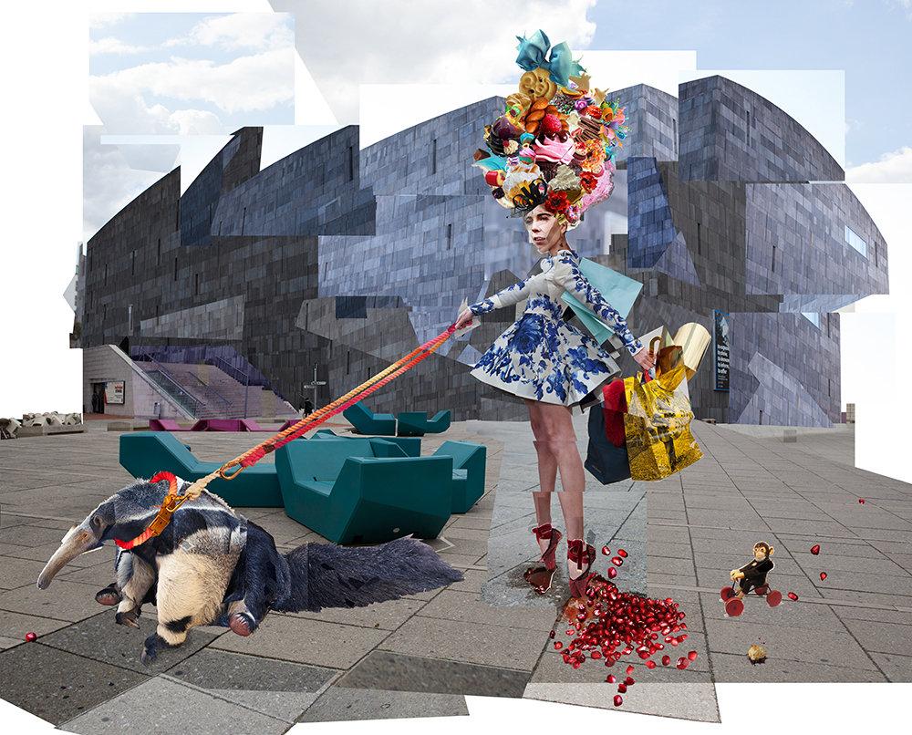 The Red Shoes, Hans Christian Andersen, anteater, ballet shoes, Marie Antoinette, Fairytale, monkey, pomegranate, Mumok, Vienna, Austria