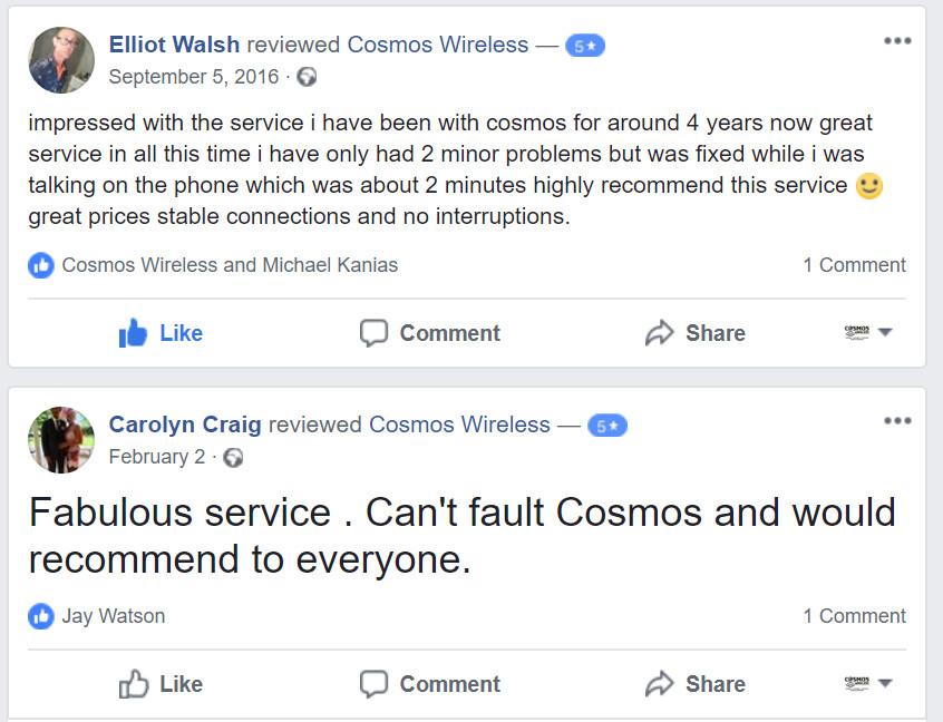 Reviews - Cosmos Wireless